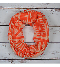 Coral Aztec Print Infinity Scarf #EASC8319-CO