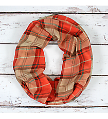 Coral Plaid Infinity Scarf #EASC8321-CO