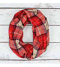 Red Plaid Infinity Scarf #EASC8321-RD