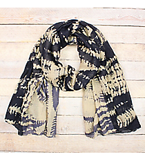 Blue and Navy Tie Dye Long Scarf #EASC8410-NVBL