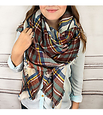 Plaid to See You Blanket Scarf #EASW8478-WTBR