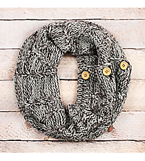 Gray and Dark Gray Diamond Cable Knit Button Infinity Scarf #EJNT8489-GEDG