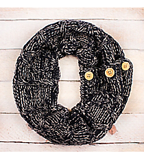 Navy and Gray Diamond Cable Knit Button Infinity Scarf #EJNT8489-NVGE