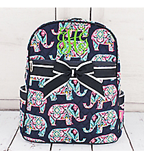 Preppy Ellie Quilted Backpack with Navy Trim #ELE2828-NAVY