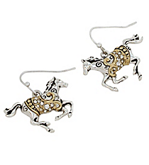 Two Tone Crystal Horse Earrings #AE1144-TT