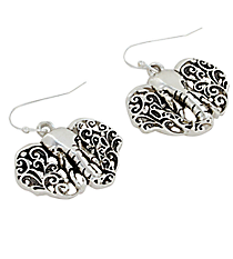 Silvertone Ivy Filigree Elephant Head Earrings #AE1204-AS