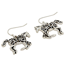 Silvertone Ivy Filigree Galloping Horse Earrings #AE1205-AS