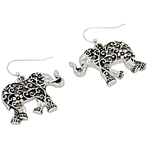 Silvertone Ivy Filigree Elephant Earrings #AE1207-AS