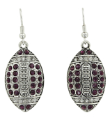 Purple and Clear Crystal Football Earrings #48144-PU/CL