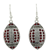Red and Gray Crystal Football Earrings #48191-RD/GY
