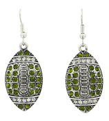 Green and Clear Crystal Football Earrings #48211-GR/CL