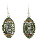 Green and Gold Crystal Football Earrings #48215-GR/GD