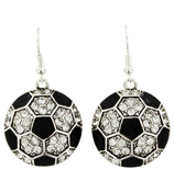 Crystal and Enamel Soccer Earrings #47792-SOCCER