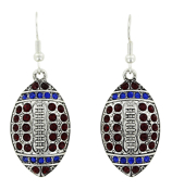 Red and Blue Crystal Football Earrings #48207-RD/BL