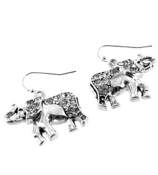 Silvertone Crystal Accented Elephant Earrings #AE0780-AS