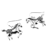 Silvertone Crystal Accented Horse Earrings #AE0791-AS