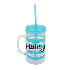 Turquoise Preppy Stripe 22oz Double Wall Mason Jar with Straw #F125933