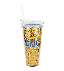 Glittering Gold 22 oz. Double Wall Tumbler with Straw #F133890