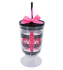 Fleur De Lis and Stripes 18 oz. Double Wall Iced Tea Tumbler with Straw #F134504