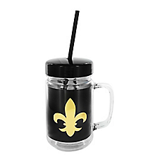 Black with Gold Foil Fleur de Lis 24oz. Double Wall Mason Jar Tumbler with Straw #F137197