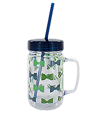 Bowtie Print 24oz. Double Wall Mason Jar Tumbler with Straw #F138665