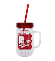 """Alabama Y'all"" 24oz. Double Wall Mason Jar Tumbler with Straw #F138737"