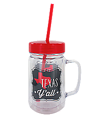 """Texas Y'all"" 24oz. Double Wall Mason Jar Tumbler with Straw #F138739"