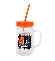 """Auburn Y'all"" 24oz. Double Wall Mason Jar Tumbler with Straw #F142432"