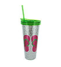 Flip Flops and Silver Glitter 22 oz. Double Wall Tumbler with Straw #F146778