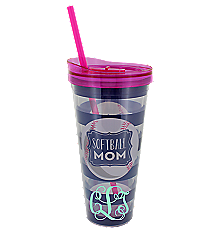 Softball Mom 22oz Double Wall Tumbler with Straw #F149315