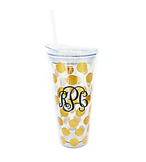 Gold Glitter Dots 22 oz. Double Wall Tumbler with Straw #F155647