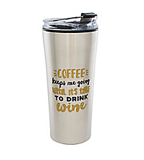 'Coffee Keeps Me Going...' 16 oz. Stainless Steel Travel Tumbler #F161238