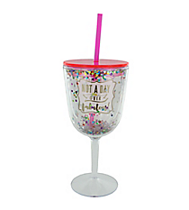 'Not A Day Over Fabulous' Confetti 13 oz. Double Wall Wine Glass with Straw #F161509