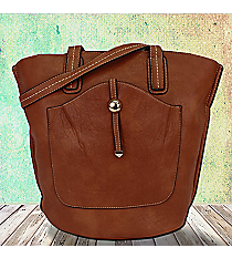 Camel Leather Front Pocket Shoulder Tote #F6336-CAMEL