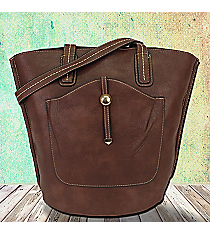 Coffee Leather Front Pocket Shoulder Tote #F6336-COFFEE