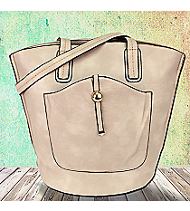 Cream Leather Front Pocket Shoulder Tote #F6336-CREAM