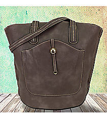Grey Leather Front Pocket Shoulder Tote #F6336-GREY