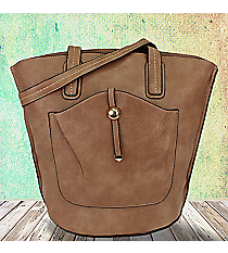 Taupe Leather Front Pocket Shoulder Tote #F6336-TAUPE