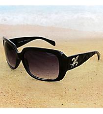 One Pair Silvertone Fleur de Lis Accented Black Sunglasses #FDL2984
