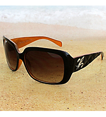 One Pair Silvertone Fleur de Lis Accented Black and Burnt Orange Sunglasses #FDL2984