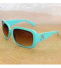 One Pair Silvertone Fleur de Lis Accented Aqua Sunglasses #FDL2984-R