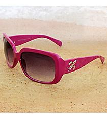One Pair Silvertone Fleur de Lis Accented Magenta Sunglasses #FDL2984-R