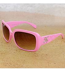 One Pair Silvertone Fleur de Lis Accented Pink Sunglasses #FDL2984-R