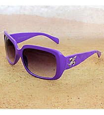 One Pair Silvertone Fleur de Lis Accented Purple Sunglasses #FDL2984-R