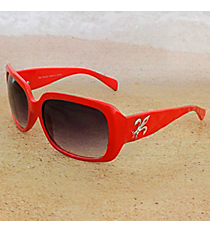 One Pair Silvertone Fleur de Lis Accented Red Sunglasses #FDL2984-R