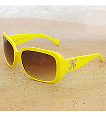 One Pair Silvertone Fleur de Lis Accented Yellow Sunglasses #FDL2984-R