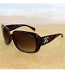 One Pair Silvertone Fleur de Lis Accented Tortoise Sunglasses #FDL2984