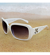 One Pair Silvertone Fleur de Lis Accented White Sunglasses #FDL2984