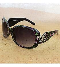 One Pair Silvertone Fleur de Lis Accented Black Floral Print Sunglasses #FDL4010-R