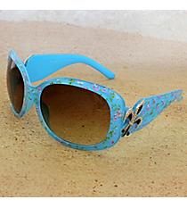One Pair Silvertone Fleur de Lis Accented Blue Floral Print Sunglasses #FDL4010-R